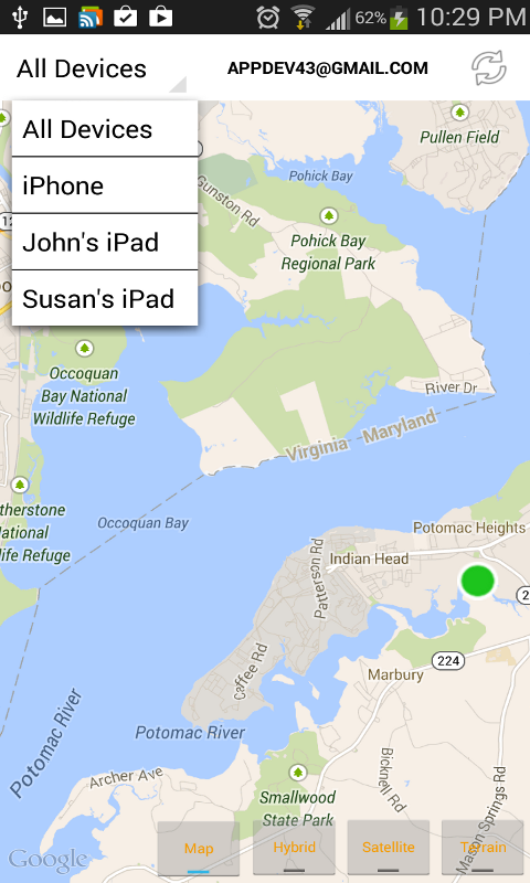 xFi Locator tracking location of a lost phone