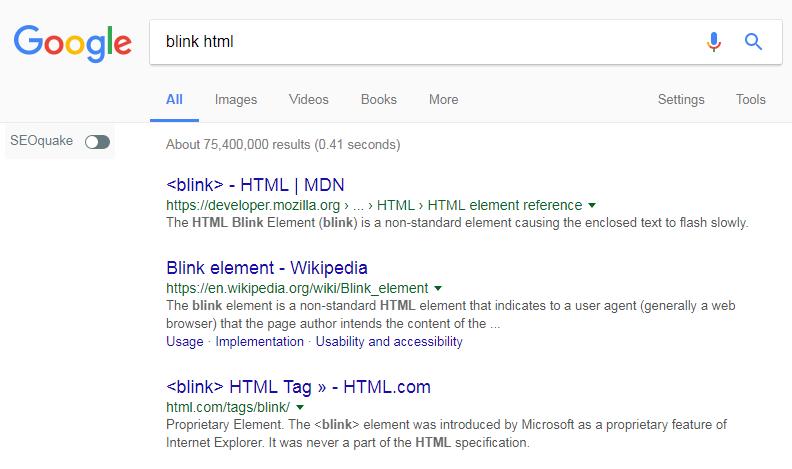Blink HTML easter egg