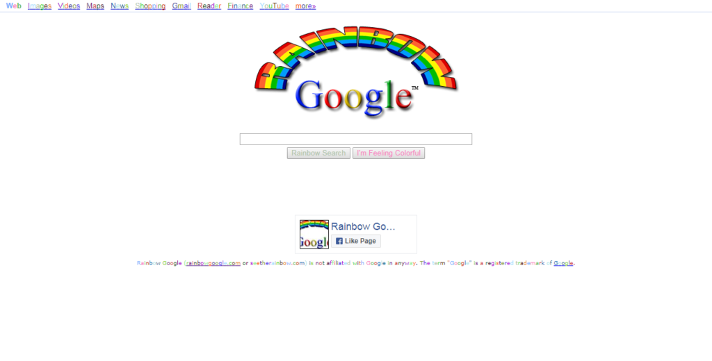Rainbow Google easter egg
