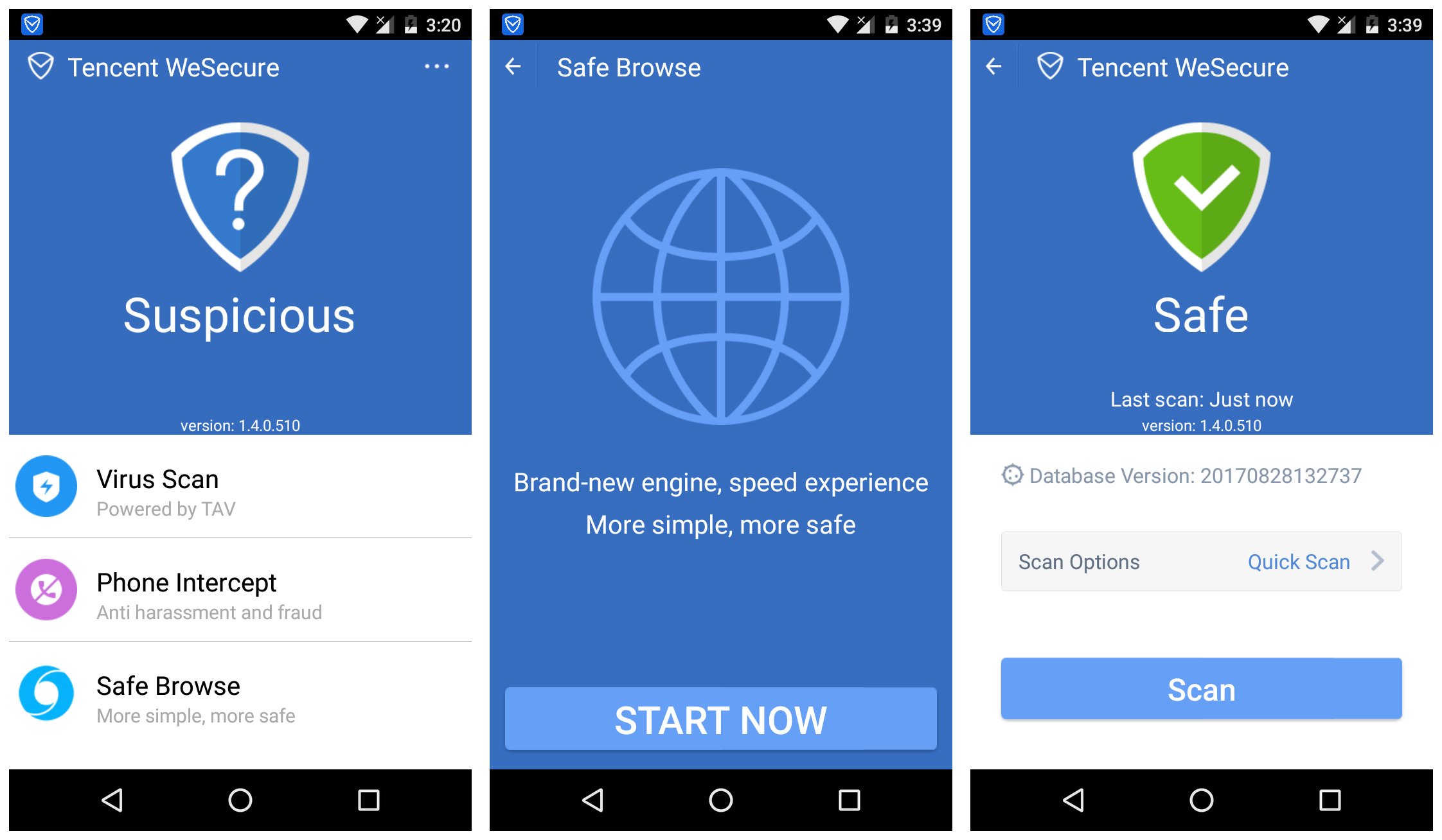 Tencent WeSecure Smartphone protection tool and Antivirus for Android devices