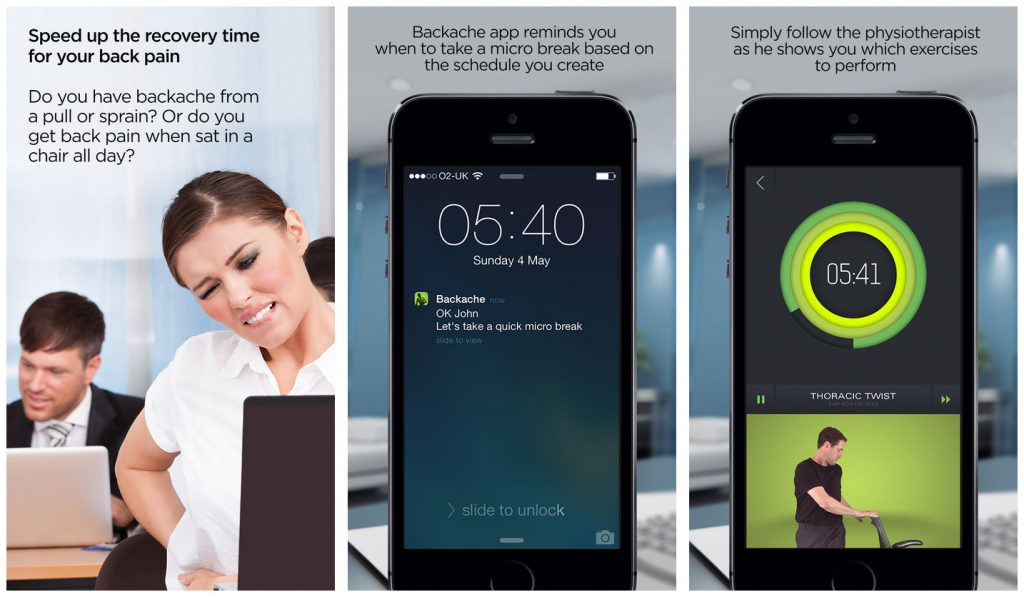 Backache mobile app for back pain relief